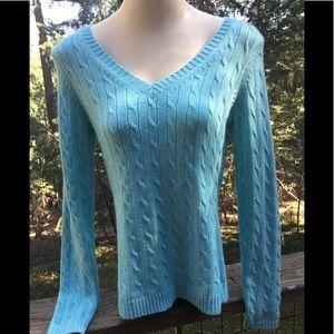 Ann Taylor Loft sky blue cable knit sweater